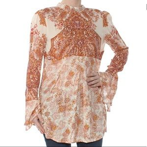 Free People Lady Luck Ivory Combo Tunic Top